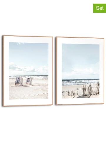 "Orangewallz 2-delige set: ingelijste kunstdrukken ""Beach Chairs"" - (B)30 x (H)40 cm"