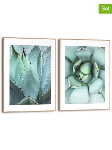 """Orangewallz Druki artystyczne (2 szt.) """"Succulentes"""" w ramce - 30 x 40 cm"""