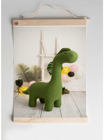 "Crochetts Afbeelding ""Dinosaurus"" olijfgroen - (B)30 x (H)40 cm"
