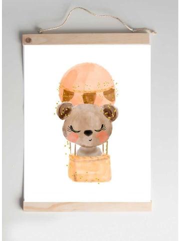 "Crochetts Kunstdruck ""Bär im Ballon"" in Apricot/ Hellbraun - (B)30 x (H)40 cm"