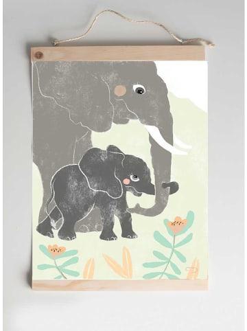 "Crochetts Kunstdruck ""Elefant"" in Hellgrün/ Grau - (B)30 x (H)40 cm"