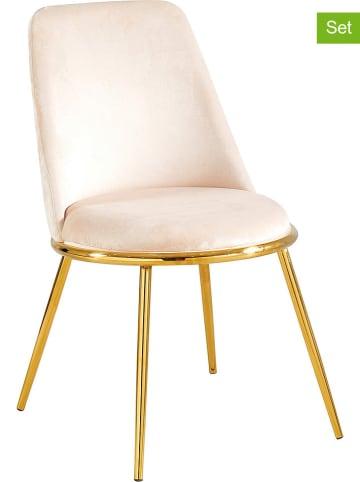 """Maison Montaigne 2er-Set: Esszimmerstühle """"Salome"""" in Beige/ Gold - (B)55 x (H)60 x (T)56 cm"""