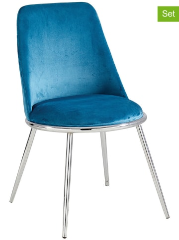 """Maison Montaigne Krzesła (2 szt.) """"Salome"""" w kolorze srebrno-morskim - 55 x 60 x 56 cm"""