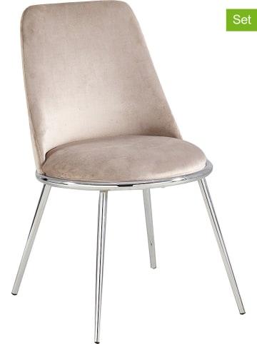 """Maison Montaigne Krzesła (2 szt.) """"Salome"""" w kolorze srebrno-szarobrązowym - 55 x 60 x 56 cm"""