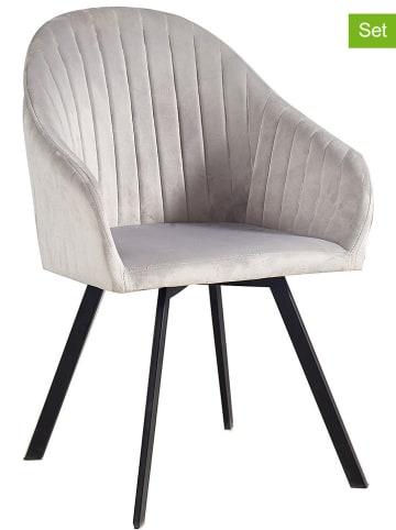 """Maison Montaigne 2er-Set: Esszimmerstühle """"Poudre"""" in Grau - (B)70 x (H)80 x (T)60 cm"""