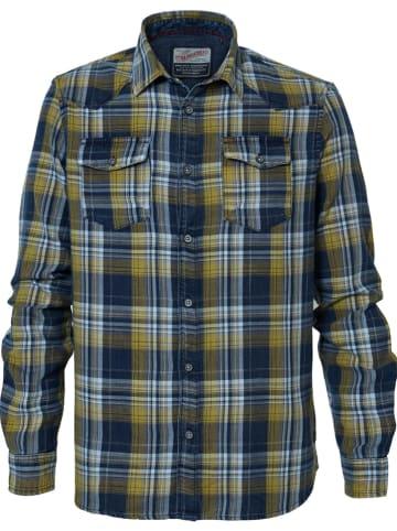 Petrol Industries Koszula w kolorze żółto-granatowym