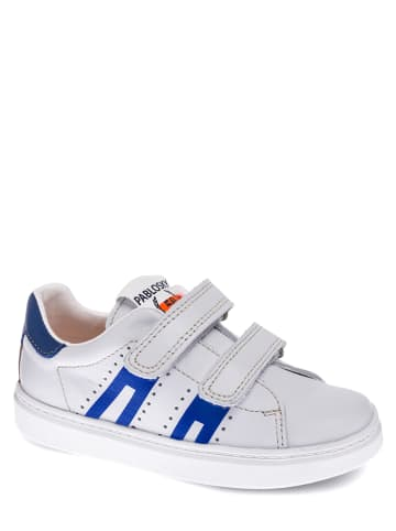 Pablosky Skórzane sneakersy w kolorze biało-niebieskim