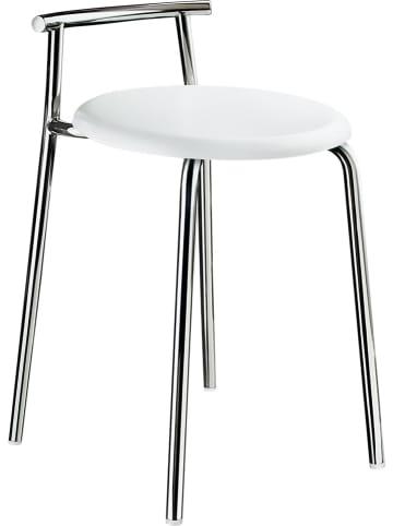 """SMEDBO Hocker prysznicowy """"Outline"""" w kolorze srebrno-białym - wys. 57 x Ø 34 cm"""