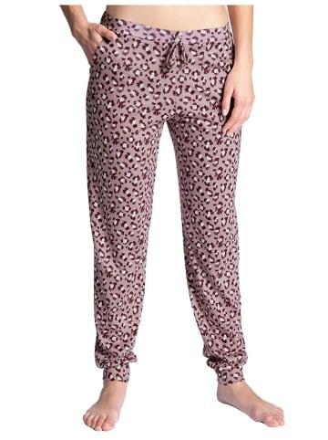 Calida Spodnie piżamowe w kolorze szaroróżowo-czarnym