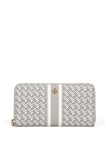 Tory Burch Skórzany portfel w kolorze szaro-białym - (S)20 x (W)10 x (G)2 cm