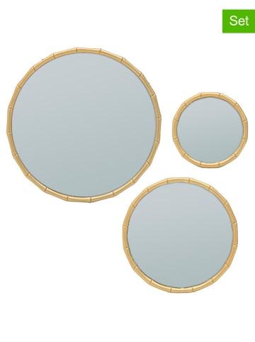 InArt 3-częściowy zestaw luster w kolorze złotym