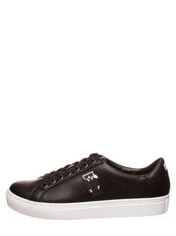 "Karl Lagerfeld Leren sneakers ""Kupsole Karl Kocktail Lo Lace"" zwart"
