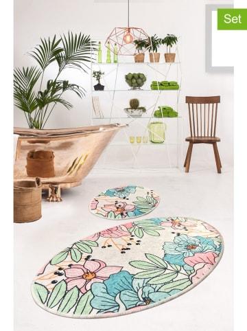 """Colorful Cotton Dywaniki łazienkowe (2 szt.) """"Spring"""" w kolorze kremowym ze wzorem"""
