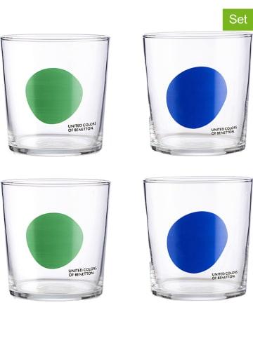 Benetton Szklanki (4 szt.) w kolorze niebiesko-zielonym - 345 ml