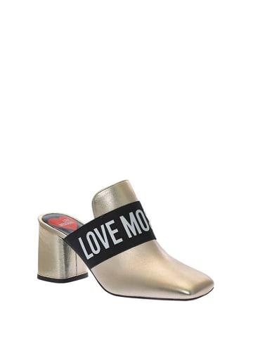 Love Moschino Leren slippers goudkleurig