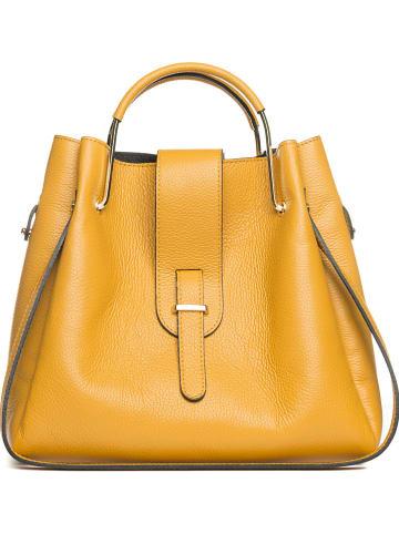 """Mia Tomazzi Skórzana torebka """"Vinci"""" w kolorze żółtym - 38 x 32 x 13 cm"""