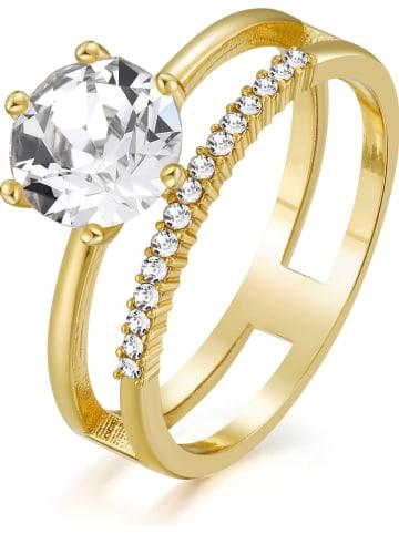 METROPOLITAN Vergulde ring met Swarovski-kristallen