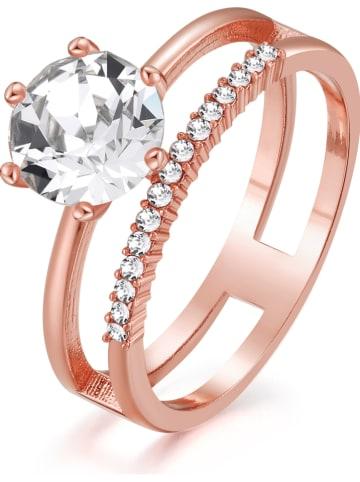 METROPOLITAN Rosévergulde ring met Swarovski-kristallen
