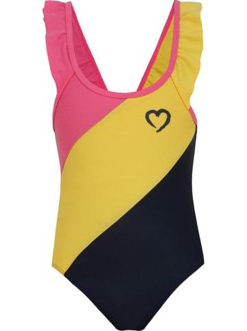 Beebielove Badeanzug in Pink/ Gelb/ Schwarz