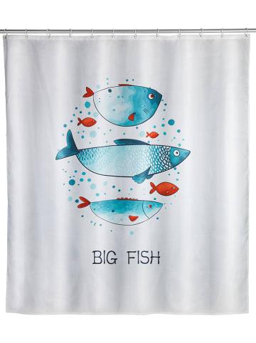 """Wenko Duschvorhang """"Big Fish"""" in Weiß/ Blau - (L)200 x (B)180 cm"""