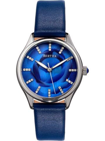 "Bertha Kwartshorloge ""Georgiana"" blauw/zilverkleurig"
