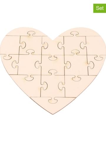 "SUNNYSUE 3-delige set: houten puzzels ""Hart"" naturel"