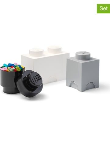 """LEGO 3-częściowy zestaw pojemników """"Brick"""" w kolorze czarnym, szarym i białym"""
