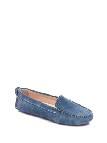 Comfortfusse Skórzane mokasyny w kolorze niebieskim