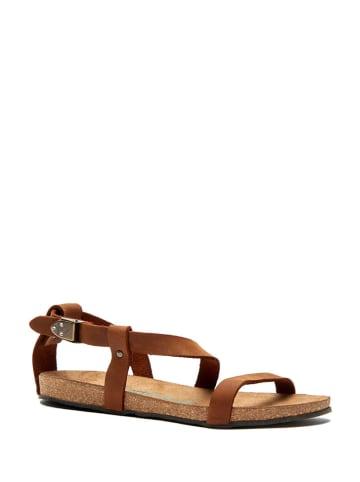 Comfortfusse Leren sandalen bruin