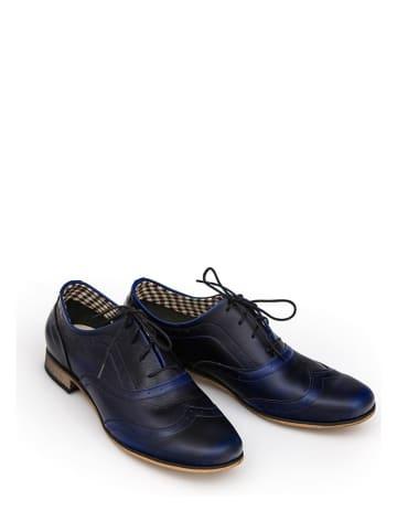 Zapato Leren veterschoenen zwart/blauw
