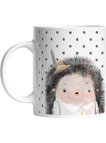 "Mr Little Fox Kubek ""Forest Scholl-Hedgehog Boy"" w kolorze biało-szarym - 330 ml"
