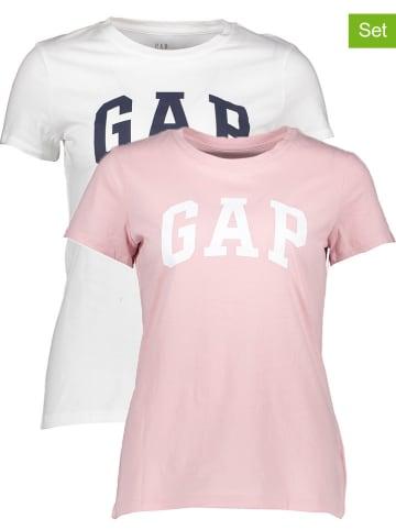 GAP Koszulki (2 szt.) w kolorze białym i jasnoróżowym