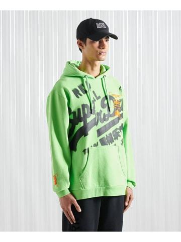 """Superdry Sweatshirt """"Super 5 Deconstruct"""" limoengroen"""