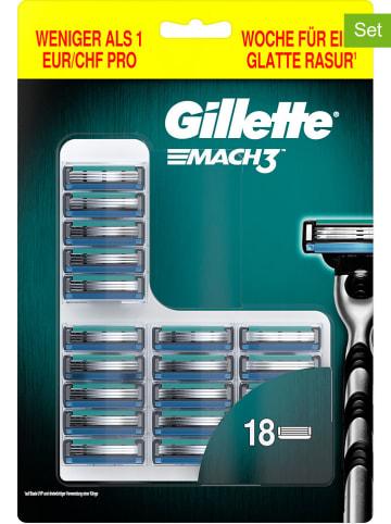 """Gillette 18er-Set: Rasierklingen """"Mach3"""" in Silber"""