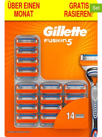 """Gillette 14er-Set: Rasierklingen """"Fusion5"""" in Silber/ Blau/ Orange"""