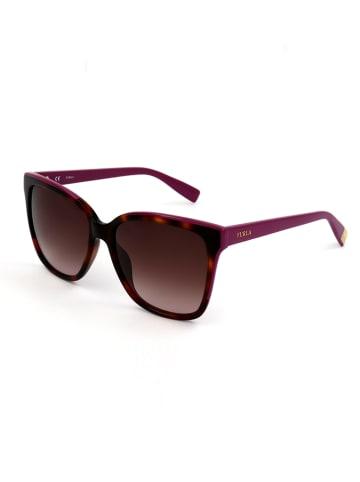 Furla Damskie okulary przeciwsłoneczne w kolorze brązowo-fioletowym