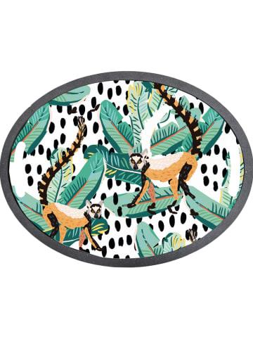 """Madre Selva Dienblad """"Lemur"""" wit/groen - (B)47 x (H)2 x (D)36"""
