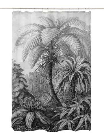 "Madre Selva Douchegordijn ""Palm"" grijs - (L)200 x (B)180 cm"
