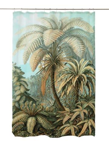 """Madre Selva Zasłona prysznicowa """"Vintage Palm"""" w kolorze zielonym - 200 x 180 cm"""