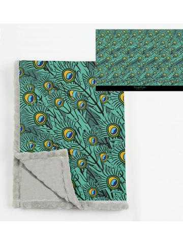 "Madre Selva Deken ""Peacock Feathers"" groen - (L)170 x (B)130 cm"