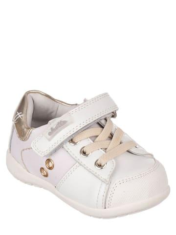 Chetto Skórzane sneakersy w kolorze biało-złotym