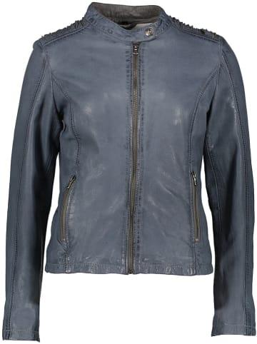 BLUE MONKEY Leren jas lichtblauw