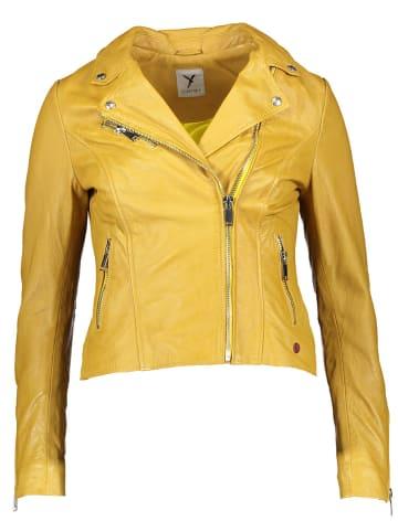 SURI FREY Skórzana kurtka w kolorze żółtym