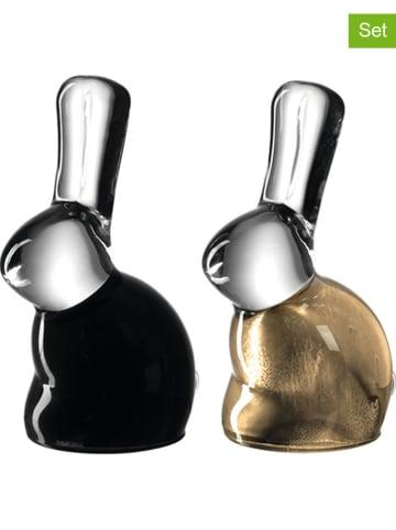 """LEONARDO 2-delige set: decoratieve objecten """"Gino"""" zwart/goudkleurig - 2x 6 stuks"""