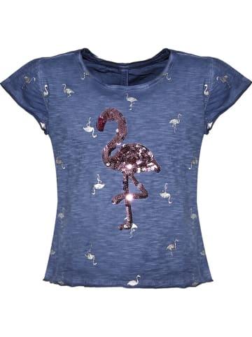 """Blue Effect Shirt """"Flamingo"""" donkerblauw"""