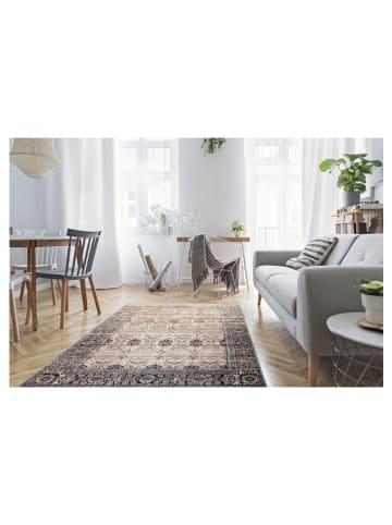 """Nazar Laagpolig tapijt """"Perst"""" beige/blauw"""