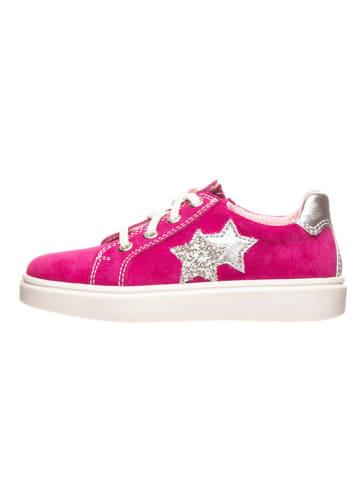 Richter Shoes Skórzane sneakersy w kolorze różowym