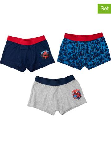 "United Labels 3-delige set: boxershorts ""Spiderman"" donkerblauw/blauw/grijs"