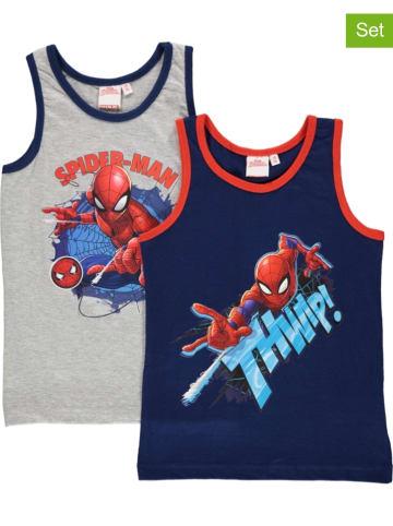 """United Labels 2-delige set: onderhemden """"Spiderman"""" donkerblauw/grijs"""