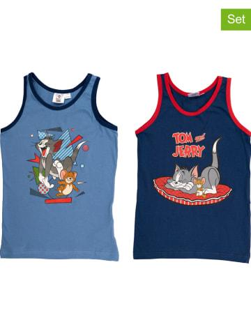 """United Labels Podkoszulki (2 szt.) """"Tom & Jerry"""" w kolorze błękitnym i niebieskim"""